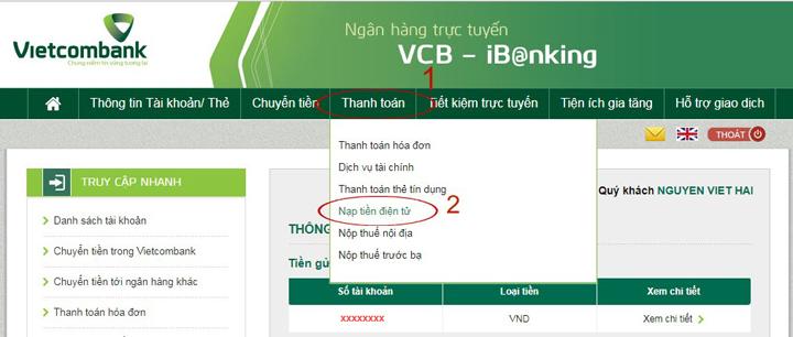 Cách nạp tiền thông qua Internet Banking